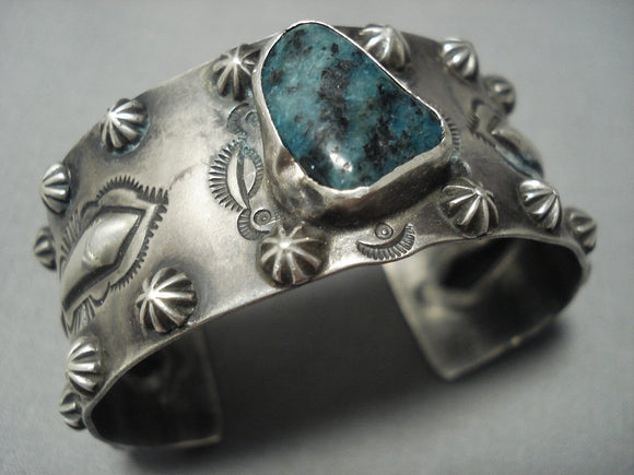 Important Chee Family Vintage Navajo Green Turquoise Sterling Native American Jewelry Silver Bracelet-Nativo Arts