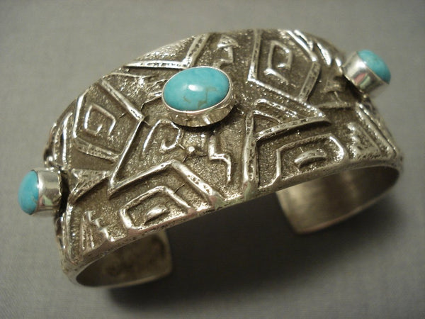 Important Chee Family Vintage Navajo Tufa Cast Native American Jewelry Silver Star Turquoise Bracelet