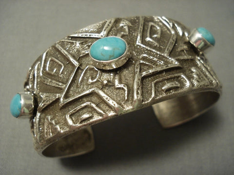 Important Chee Family Vintage Navajo Tufa Cast Native American Jewelry Silver Star Turquoise Bracelet-Nativo Arts