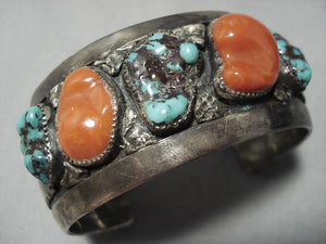 Important Green Spiderweb Turquoise Vintage Native American Navajo Sterling Silver Bracelet-Nativo Arts