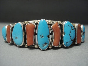 Important Guild Navajo Coral Turquoise Sterling Native American Jewelry Silver Bracelet-Nativo Arts