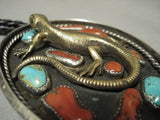 Important Huge Gold And Chunk Coral Gecko Vintage Navajo Native American Jewelry Silver Bolo Tie-Nativo Arts