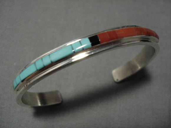 Important Inlay Expert Native American Zuni Turquoise Coral Sterling Silver Bracelet-Nativo Arts