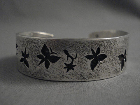 Important Modernist Navajo Kee Yazzie Native American Jewelry Silver Bracelet-Nativo Arts