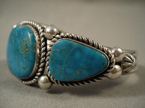 Important Modernistic Navajo Albert Lee Turquoise Native American Jewelry Silver Bracelet-Nativo Arts