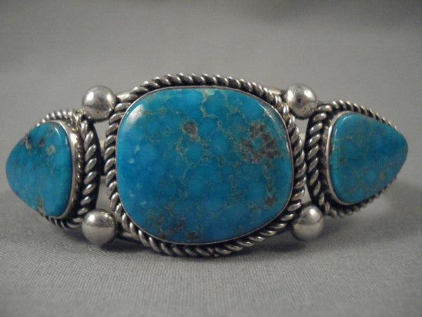 Important Modernistic Navajo Albert Lee Turquoise Native American Jewelry Silver Bracelet