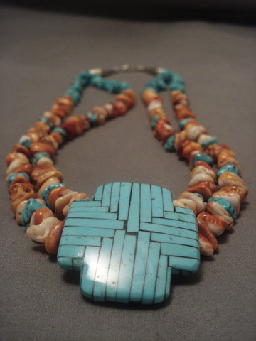 Important Modernistic Santo Domingo turquoise Cross Necklace Vtg-Nativo Arts