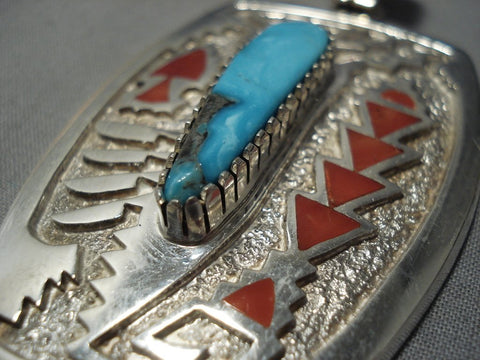 Important Native American Jewelry Navajo Michael Perry Bisbee Turquoise Sterling Silver Pendant-Nativo Arts