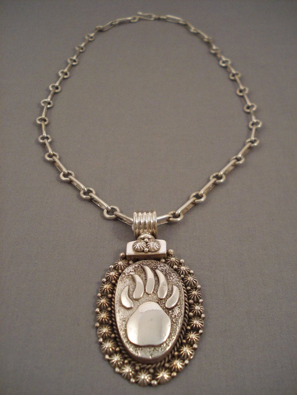 Important Navajo 'Heavy Chain' Native American Jewelry Silver Necklace-Nativo Arts