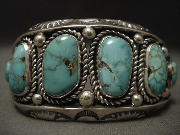 Important Navajo Native American Jewelry jewelry Albert Lee 115 Gram Carico Lake Turquoise Bracelet-Nativo Arts
