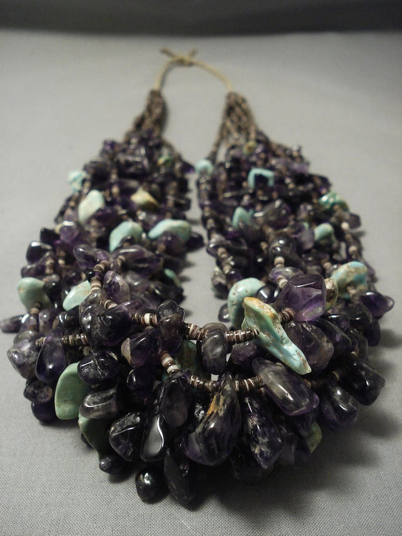Important Navajo Native American Jewelry jewelry Amethyst And Royston Turquoise Heishi Necklace-Nativo Arts