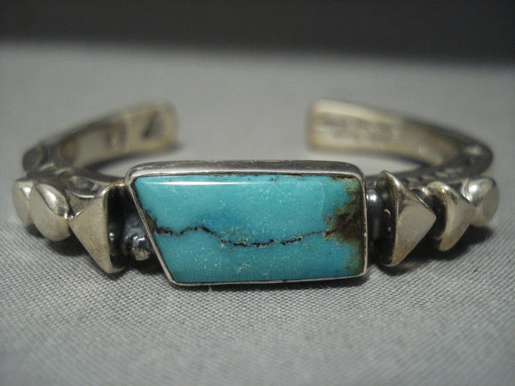 Important Navajo Orville Tsinnie Green Turquoise Sterling Native American Jewelry Silver Bracelet-Nativo Arts
