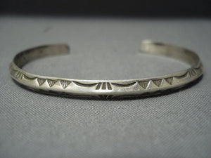 Important Navajo Ray Adakai Sterling Native American Jewelry Silver Bracelet-Nativo Arts