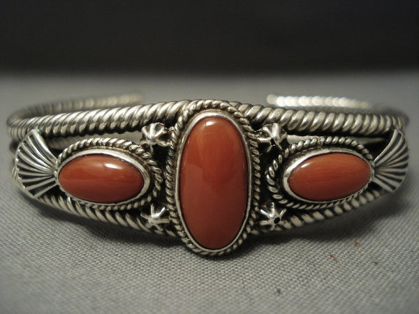 Important Navajo Steve Arviso Natural Huge Coral Coil Sterling Native American Jewelry Silver Bracelet