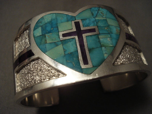 Important Navajo Tommy Moore Natural Turquoise Sugulite Cross Native American Jewelry Silver Bracelet
