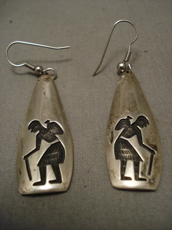 Important Old Hopi Native American Jewelry Silver Earrings-Nativo Arts