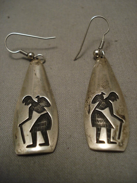 Important Old Hopi Native American Jewelry Silver Earrings