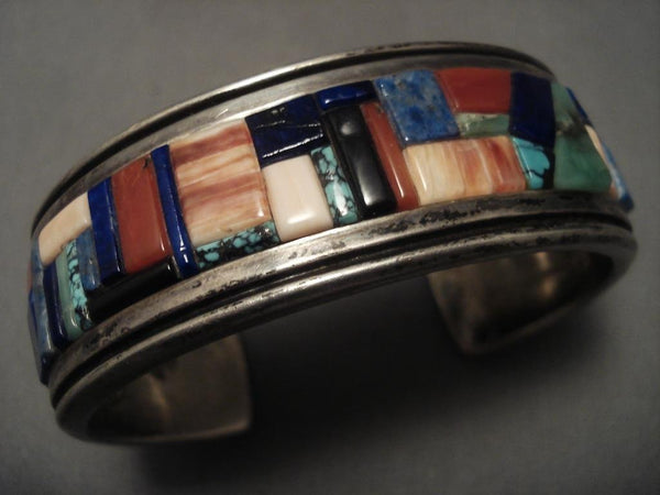 Important Old Navajo inlay Genius Native American Jewelry Silver Bracelet