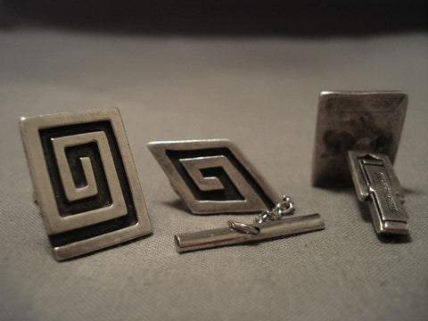 Important Old Navajo Johnny Mike Begay Native American Jewelry Silver Cufflinks & Tie Tac Set-Nativo Arts