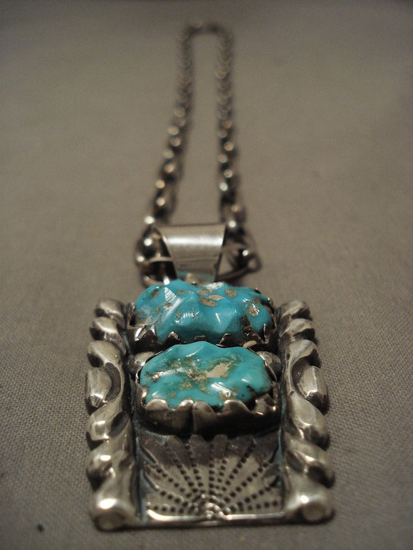 Important Old Zuni Alice Quam Turquoise Native American Jewelry Silver Necklace-Nativo Arts
