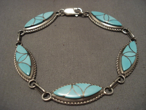 Important Old Zuni Frank Vacit Turquoise Native American Jewelry Silver Bracelet-Nativo Arts