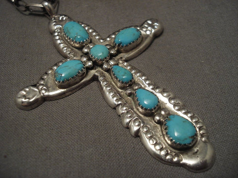 Important Old Zuni Horace Iule Turquoise Native American Jewelry Silver Cross Necklace-Nativo Arts