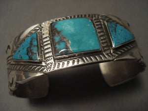Important Older Vintage Navajo Kee Joe Benally (d.) Turquoise Native American Jewelry Silver Bracelet-Nativo Arts