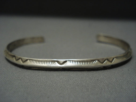 Important Ray Adakai Sterling Native American Jewelry Silver Detailed Vintage Bracelet-Nativo Arts