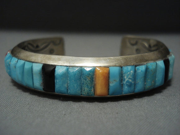 Important Ray Adakai Vintage Navajo Green Turquoise Sterling Native American Jewelry Silver Bracelet-Nativo Arts