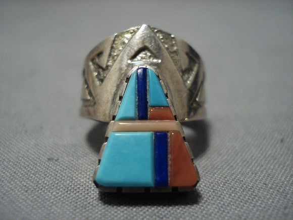 Important Richard Tsosie Vintage Native American Jewelry Navajo Turquoise Sterling Silver Inlay Ring-Nativo Arts