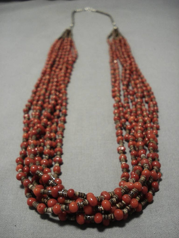 Important Roe Yazzie Coral Sterling Silver Native American Necklace-Nativo Arts