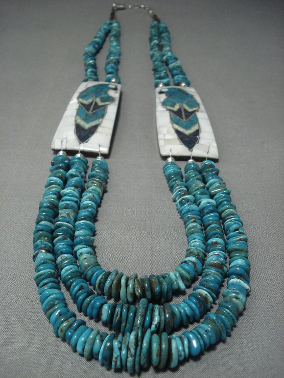 Important!! Santo Domingo Turquoise Parrot Sterling Native American Jewelry Silver Necklace-Nativo Arts