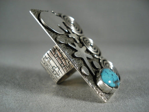 Important Towering Navajo Modernistic Navajo Native American Jewelry Silver Turquoise Ring-Nativo Arts
