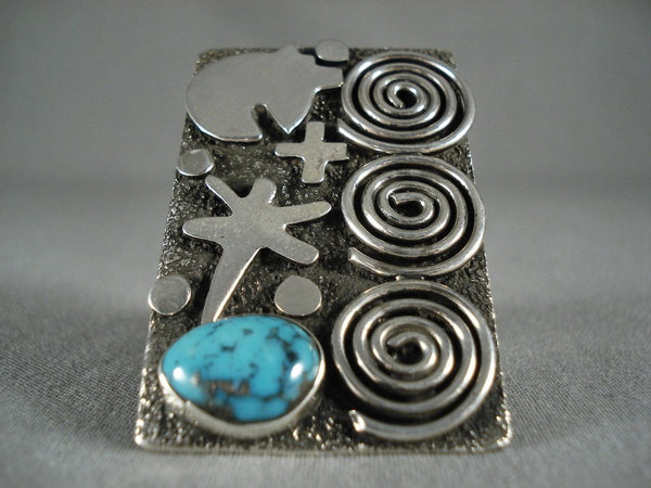 Important Towering Navajo Modernistic Navajo Native American Jewelry Silver Turquoise Ring