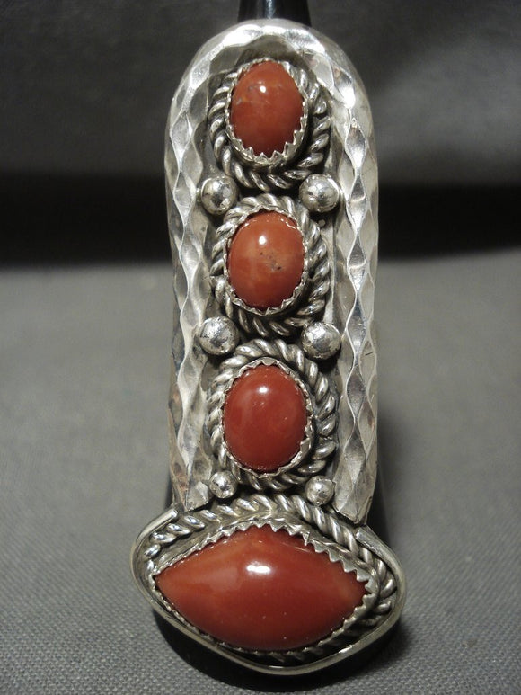 Important Tso Family Huge Corals Native American Jewelry Silver Navajo Ring-Nativo Arts
