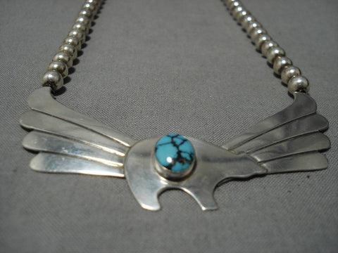 Important Turquoise!! Blue Warrior Vintage Native American Navajo Sterling Silver Wing Necklace-Nativo Arts
