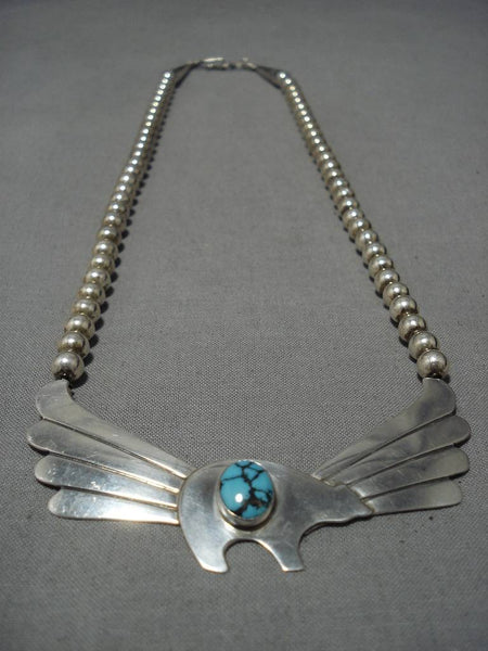Important Turquoise!! Blue Warrior Vintage Native American Navajo Sterling Silver Wing Necklace
