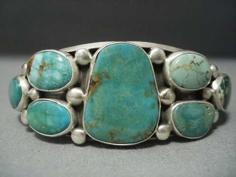 Important Verdy Jake Royston Green Turquoise Vintage Sterling Native American Jewelry Silver Bracelet-Nativo Arts