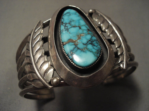 Important Very Old Navajo Vintage Crow Springs Turquoise Native American Jewelry Silver Bracelet-Nativo Arts