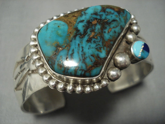 Important Vidal Aragon Turquoise Vintage Santo Domingo Sterling Native American Jewelry Silver Bracelet-Nativo Arts