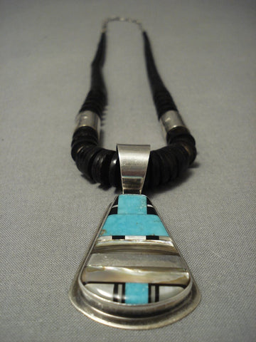Important Vintage Anto Domingo Dan Coriz Native American Jewelry Silver Necklace-Nativo Arts