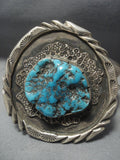 Important Vintage Cherokee Russell Mccullogh Turquoise Native American Jewelry Silver Bracelet Old-Nativo Arts
