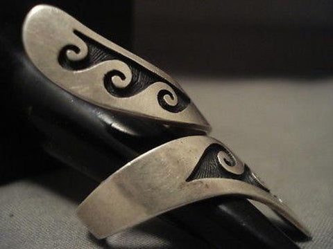 IMPORTANT VINTAGE HOPI BERNARD DAWAHOYA (D.) SILVER ADJUSTABLE RING-Nativo Arts