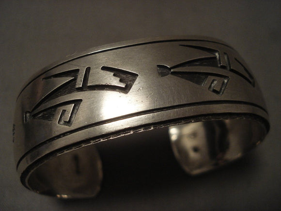 Important Vintage Hopi Perry Fred (d.) Native American Jewelry Silver Bracelet-Nativo Arts