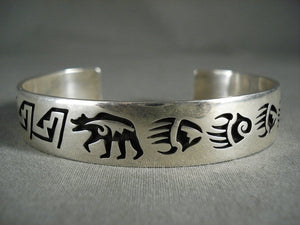 Important Vintage Hopi Ray Kyasyousie Goemtric And Bearr Native American Jewelry Silver Bracelet-Nativo Arts