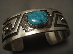 Important Vintage Hopi Turquoise And Real 14k Gold Turquoise Native American Jewelry Silver Bracelet-Nativo Arts
