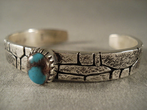 Important Vintage Kee Yazzie Bisbee Turquoise silver Stone Wall Bracelet-Nativo Arts