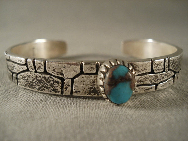 Important Vintage Kee Yazzie Bisbee Turquoise silver Stone Wall Bracelet