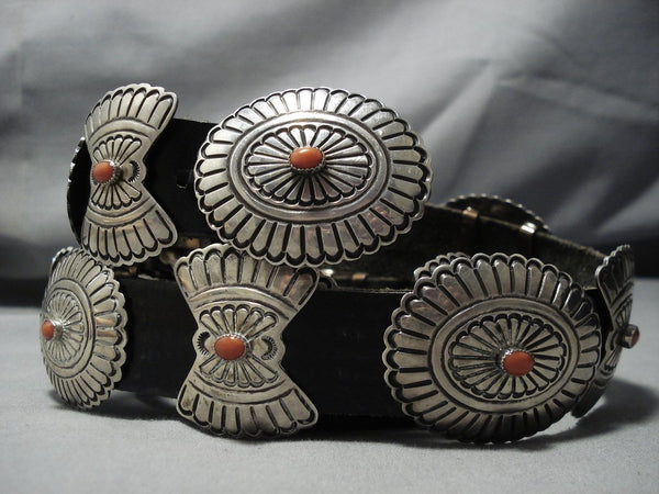 Important Vintage Native American Jewelry Navajo Mary Morgan Coral Sterling Silver Concho Belt Old-Nativo Arts