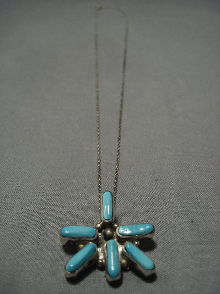 Important Vintage Native American Navajo Jimmie King Jr Turquoise Sterling Silver Necklace Old